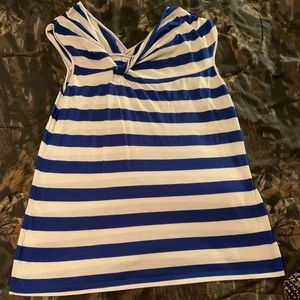 Royal blue and white striped